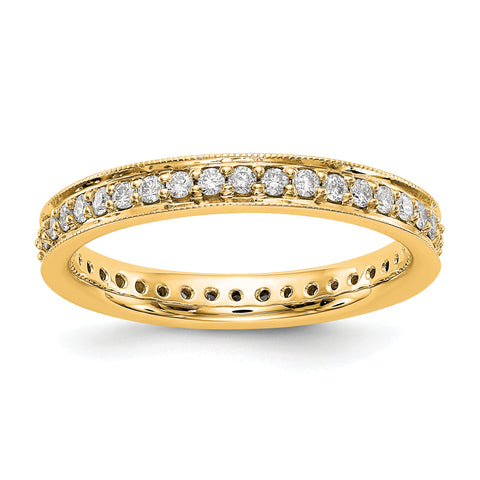 1/2 CT Natural Diamond Antique Vintage Style Diamond Eternity Band in 14k Yellow Gold
