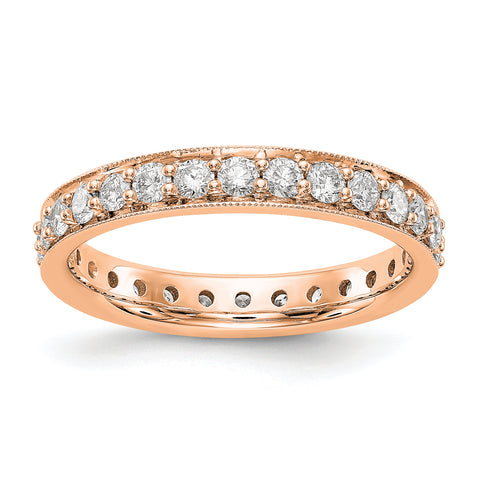 14k Rose Gold Polished Vintage 1ct Diamond Eternity Band