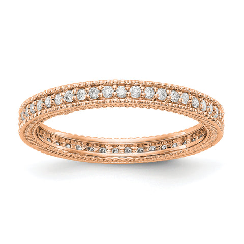 14k Rose Gold Polished 1/3CT Milgrain Edge Diamond Eternity Band
