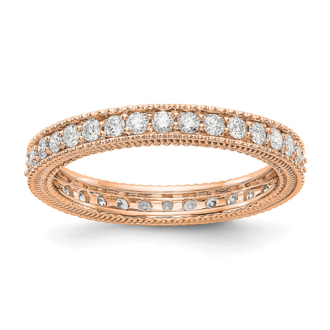 14k Rose Gold Polished 3/4CT Milgrain Edge Diamond Eternity Band