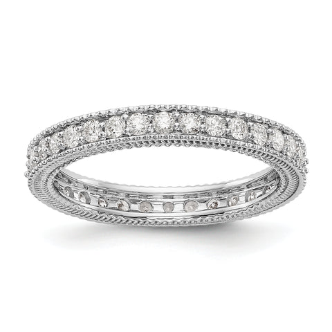 14k White Gold Polished 3/4CT Milgrain Edge Diamond Eternity Band