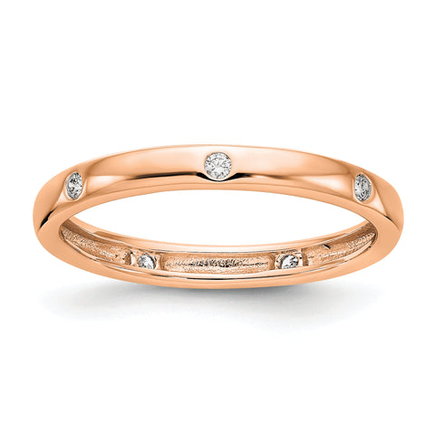 14k Rose Gold 1/10CT Polished Bezel Set Diamond Eternity Band