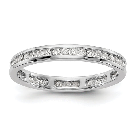 14k White Gold Polished 1/2ct Channel Set Diamond Eternity Band