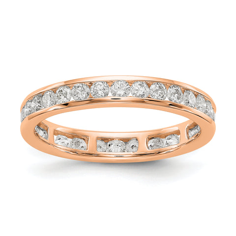 14k Rose Gold Polished 1ct Channel Set Diamond Eternity Band