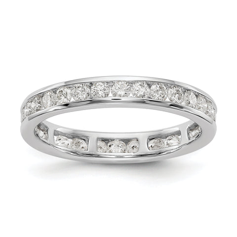 1 1/2 Ct. Natural Diamond Womens Eternity Anniversary Wedding Band Ring in 14k White Gold