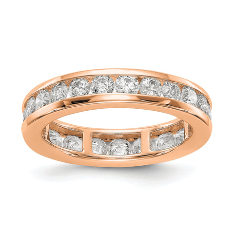 14k Rose Gold Polished 2ct Channel Set Diamond Eternity Band