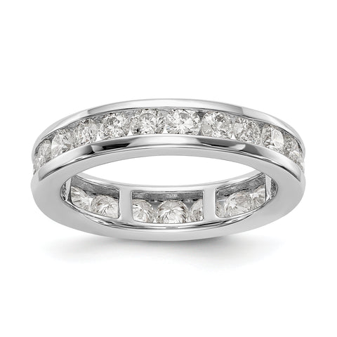 14k White Gold Polished 2ct Channel Set Diamond Eternity Band