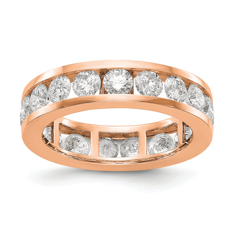 14k Rose Gold Polished 3ct Channel Set Diamond Eternity Band
