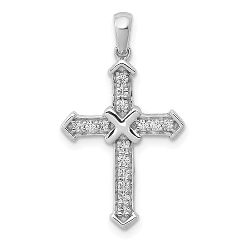 0.17 Ct. Natural Diamond Passion Cross Anhänger aus 14 Karat Weißgold