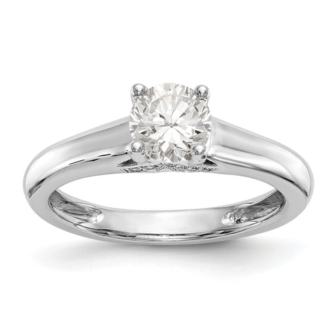 14K White Gold Round Solitaire Simulated Diamond Engagement Ring