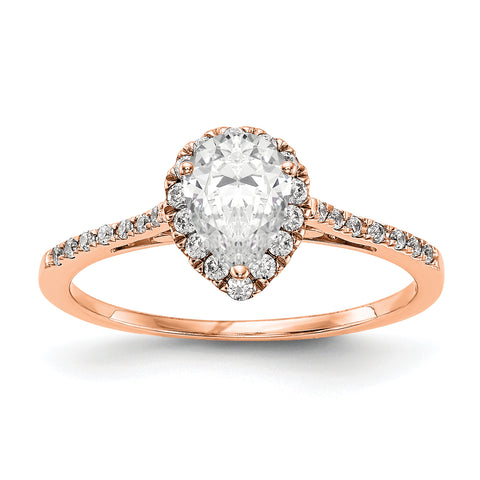 14k Rose Gold Pear Halo Simulated Diamond Engagement Ring
