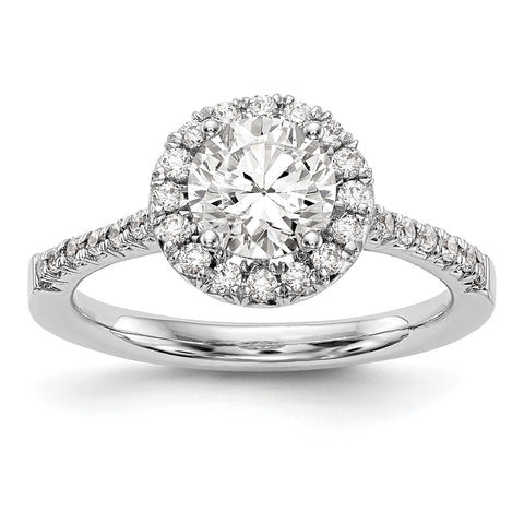 14kw Round Halo Simulated Diamond Engagement Ring