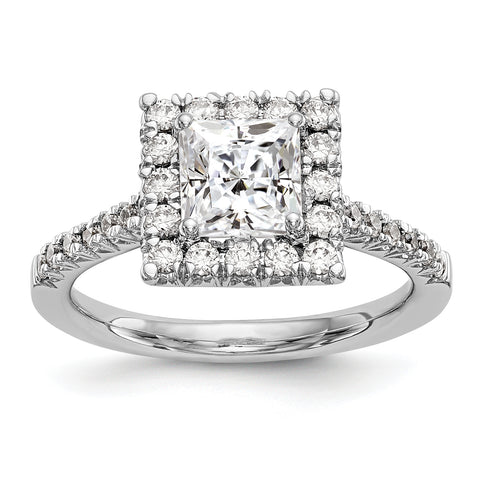 14kw Square Halo Simulated Diamond Engagement Ring