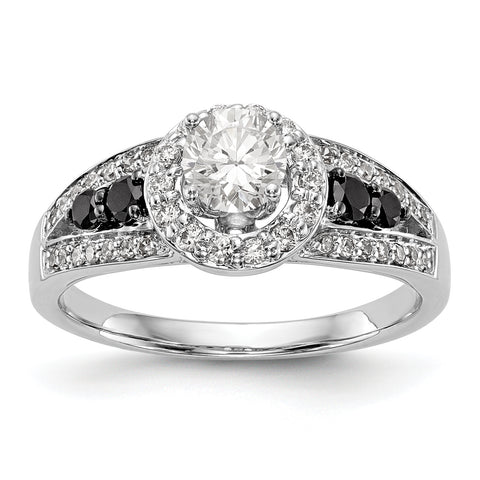 14kw Round Diamond with Black Simulated Diamond Halo Engagement Ring