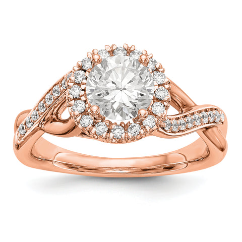 14K Rose Gold Round Simulated Diamond Halo Engagement Ring