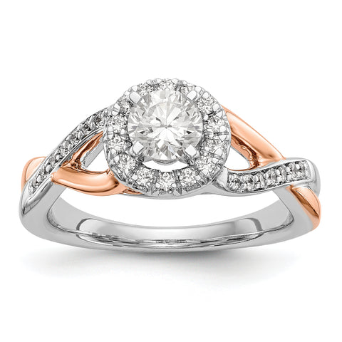 14K Rose and White Gold Round Simulated Diamond Halo Engagement Ring