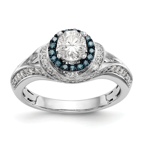 14KW Round Blue and White Simulated Diamond Halo Engagement Ring