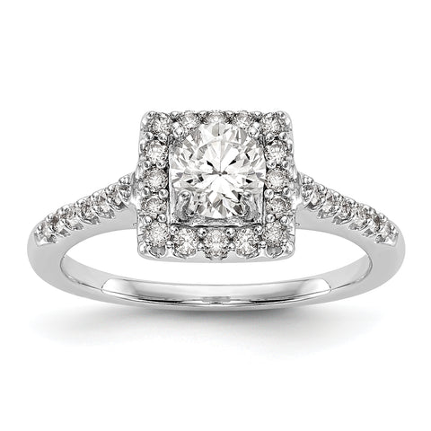 14KW Round Simulated Diamond Halo Engagement Ring