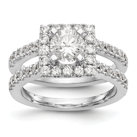 14KW Round Simulated Diamond Square Halo Engagement Ring
