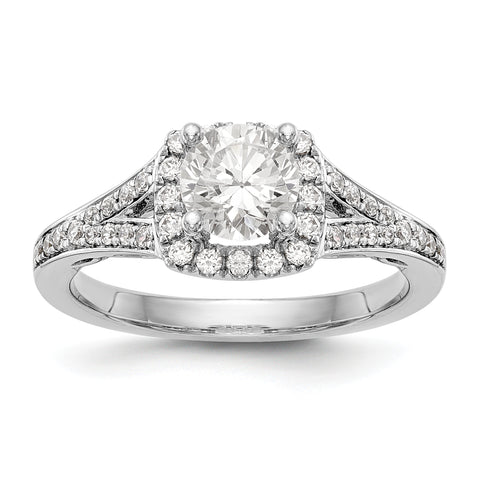14kw Round Simulated Diamond Cushion Halo Engagement Ring