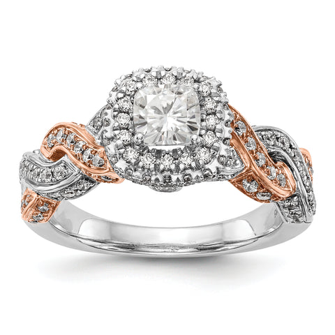 14K Rose/White Gold Diamond Cushion CZ Halo Engagement Ring