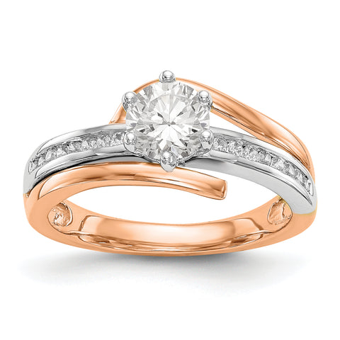 14k Two tone Rose Gold Peg Set Simulated Diamond By Pass Engagement Ring