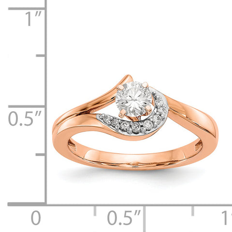 14k Rose Gold Peg Set Simulated Diamond By Pass Engagement Ring