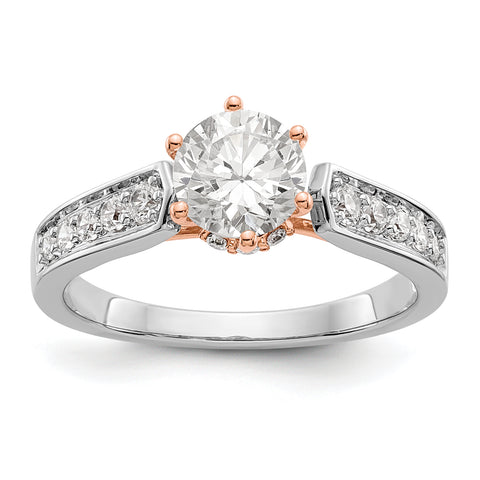 14K White Gold and Rose Simulated Diamond Engagement Ring