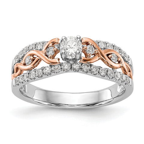 14k White Gold and Rose Gold Peg Set Diamond Engagement Ring