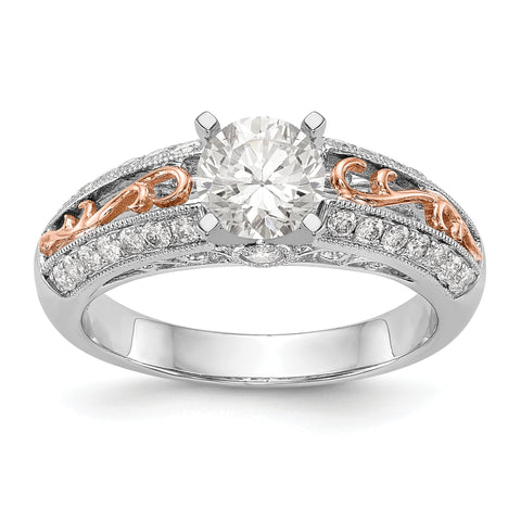 14K White Gold and Rose Gold Diamond Peg Set CZ Engagement Ring