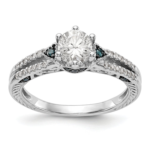 14k White Gold Blue and White Simulated Diamond Engagement Ring