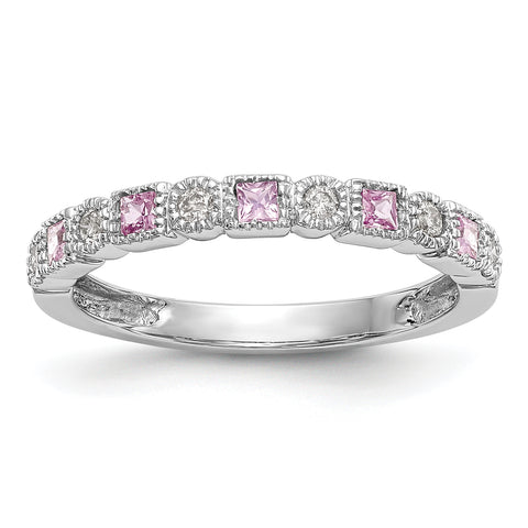 Natural Diamond with Pink Sapphire Wedding Band Ring 14k White Gold