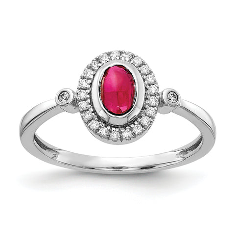 14 Karat Weißgold Real Diamond und Oval Cabochon Ruby Halo Ring