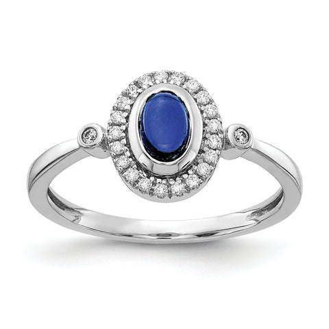14 Karat Weißgold Real Diamond und Oval Cabochon Sapphire Halo Ring