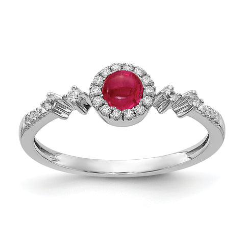 14 Karat Weißgold Real Diamond und Cabochon Ruby Halo Ring