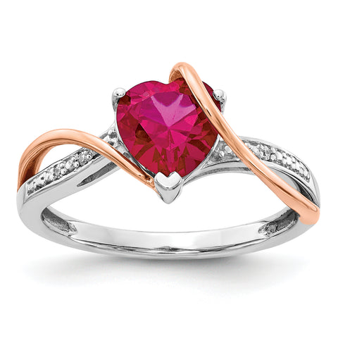 14k Two tone Diamond and Ruby Ring