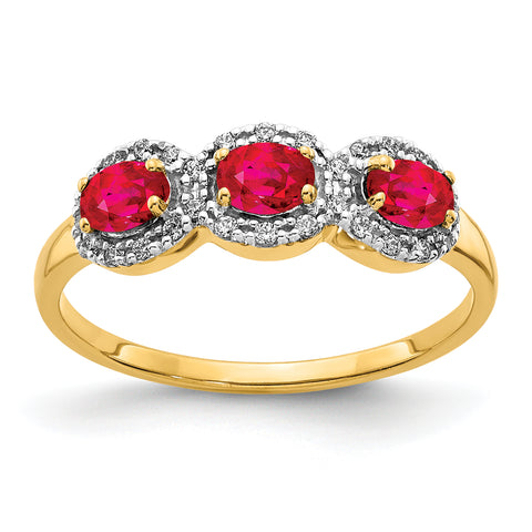 14k Composite Ruby and Diamond Three Stone Ring