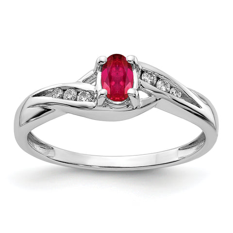 14k White Gold Composite Ruby and Diamond Ring