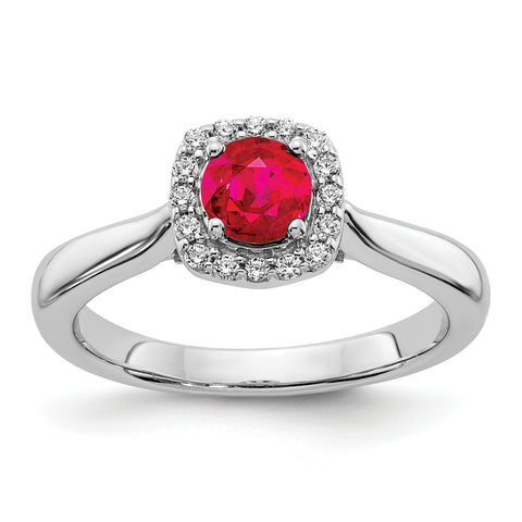 14 Karat Weißgold Real Diamond und Ruby Halo Ring