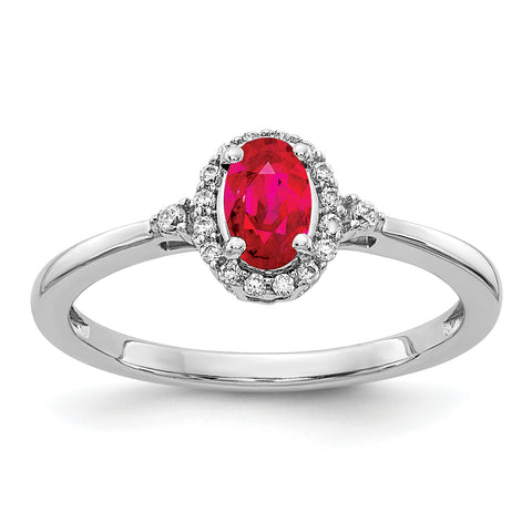 14 Karat Weißgold Oval Ruby und Real Diamond Halo Ring