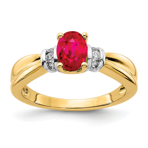 14k and Rhodium Diamond and Ruby Ring