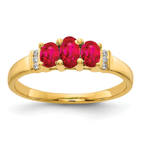 14k Polished Triple Ruby and Diamond Ring