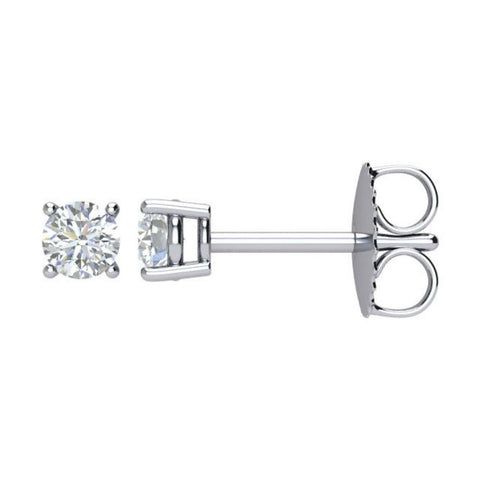 015ct I1 Clarity J K Color Natural Diamond Stud Push on Post Earrings in 14k White Gold