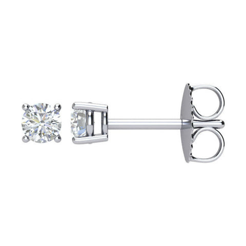 1/4 Carat TW AGS Certified Round Diamond Solitaire Stud Earrings in 14K White Gold (J-K Color, 12-I3 Clarity)