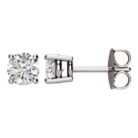 1.0 Carat TW AGS Certified Round Diamond Solitaire Stud Earrings in 14K White Gold