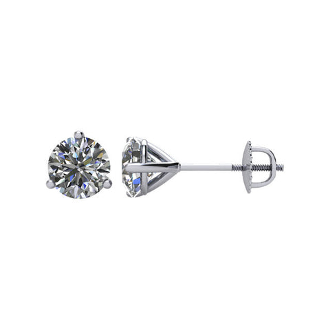 1 CTW Diamond Threaded Post Earrings in 14kt White Gold