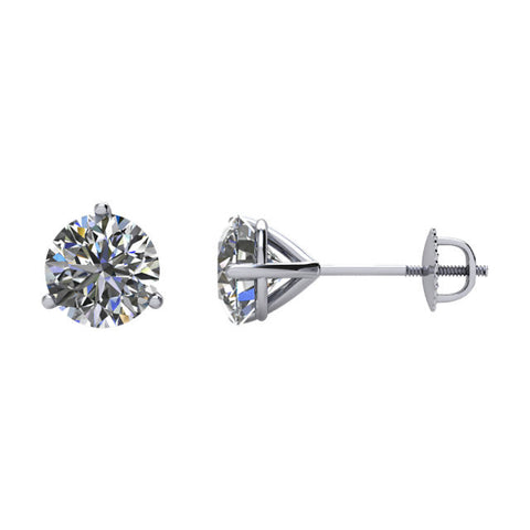 1 1/2 CTW Diamond Threaded Post Earrings in 14kt White Gold