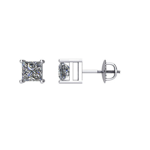 1/2 CTW Diamond Threaded Post Stud Earrings in 14kt White Gold