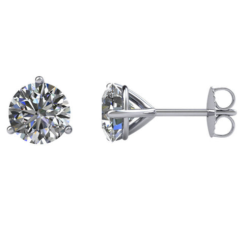 1 1/2 CTW Diamond Friction Post Stud Earrings in 14kt White Gold