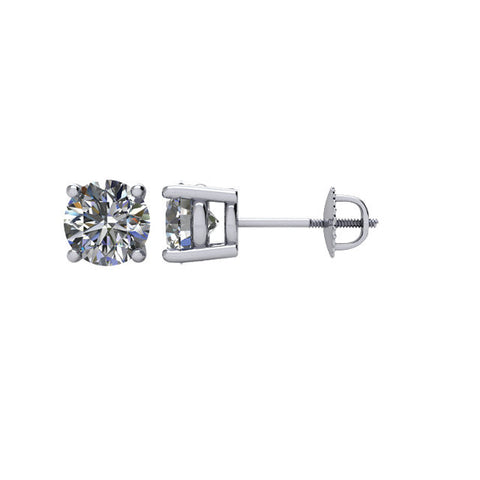 1 CTW Diamond Threaded Post Stud Earrings